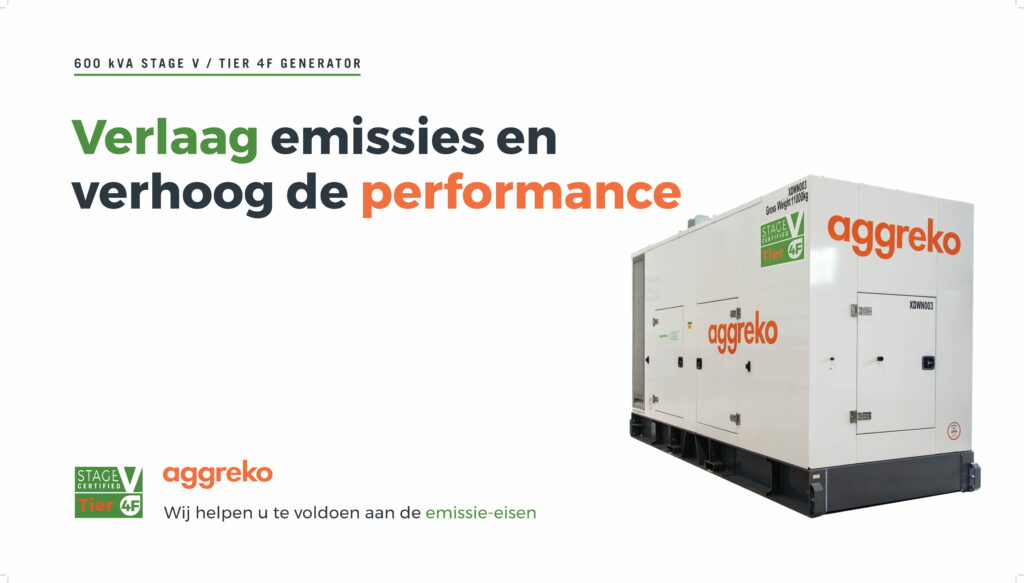 Stage V generator voor lagere uitstoot gelanceerd door Aggreko